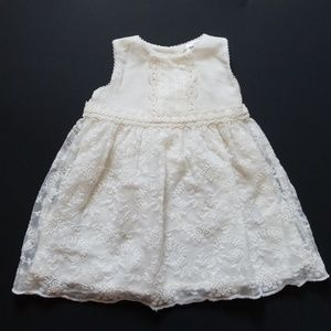 NWOT baby girl off white sheer lace layer dress 6m